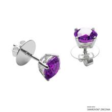 1 Carat Fancy Purple Round Stud Earring Made With Swarovski Zirconia