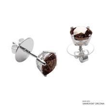 1 Carat Fancy Brown Round Stud Earring Made With Swarovski Zirconia
