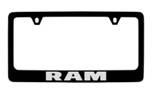 Ram Black Coated Zinc License Plate Frame Holder With Silver Imprint
