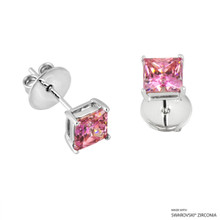 1 Carat Fancy Pink Princess Stud Earring Made With Swarovski Zirconia