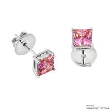 1 Carat Fancy Pink Princess Stud Earring Made With Swarovski Zirconia