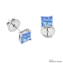 1 Carat Fancy Blue Princess Stud Earring Made With Swarovski Zirconia