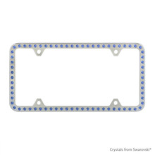 Premium Chrome Plated Zinc License Plate Frame Holder Embellished With Swarovski Crystals (LFZCY301-B-4H)