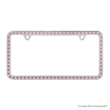 Premium Chrome Plated Zinc License Plate Frame Holder Embellished With Swarovski Crystals (LFZCY301-P-2H)