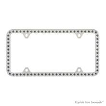 Premium Chrome Plated Zinc License Plate Frame Holder Embellished With Swarovski Crystals (LFZCY301-SB-4H)