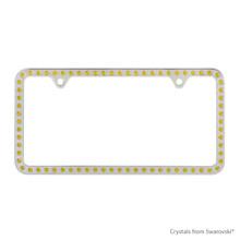 Premium Chrome Plated Zinc License Plate Frame Holder Embellished With Swarovski Crystals (LFZCY301-Y-2H)