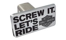 "Harley-Davidson® 1.25"" Standard Post Hitch Cover With Slogan 'Screw It, Let's Ride' + Bar & Shield Logo With Chrome Plated Rectangular Emblem"