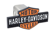 Harley-Davidson® Black Trailer Hitch Cover Plug Featuring Orange & Black Vintage Bar & Sheild