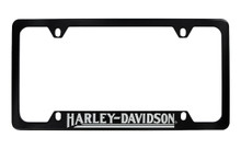 Harley-Davidson® 4 Holes Black License Plate Frame Bottom Rotary Engraved Harley-Davidson® Imprint Exposing Shiny Metallic Lettering With Clear Epoxy Coating On Black Metal Frame
