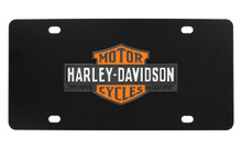 Harley-Davidson® Black Front Plate 3 Colors Vintage Bar & Shield Logo Emblem With Trade Mark Black Orange & White Zinc Emblem