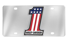 Harley-Davidson® Front Plate With Chrome #1 Shape 3 Color Usa Flag Emblem Mounted On Stainless Steel Plate