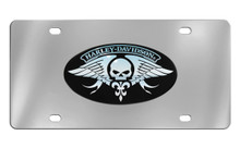 Harley-Davidson® Front Plate With Harley-Davidson® Willie G. Skull Wings Chrome Imprints On A Black Powder Coated Oval Emblem On Mirror Polish Stainless Plate