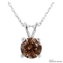 2 Carat Fancy Brown Round Necklace Made With Swarovski Zirconia