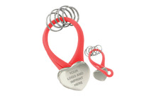 Nickel Plating Heart Shape Red Pvc Key Holder With 5Pcs Ring In Black Gift Box