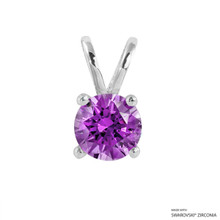 1 Carat Fancy Purple Round Pendant Made With Swarovski Zirconia