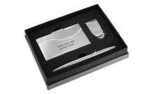 Chrome Curve Line Money Clip Card Case Ball Pen Gift Set In Grey Deluxe Box