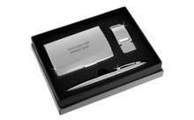 Satin Money Clip Card Case Ball Pen Gift Set In Grey Deluxe Box