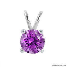 2 Carat Fancy Purple Round Pendant Made With Swarovski Zirconia