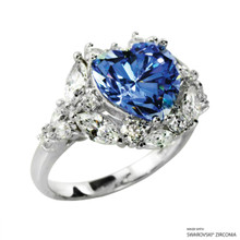 Ring(Size 6, 7, 8) Made With Swarovski Zirconia Heart 1 Fancy Blue
