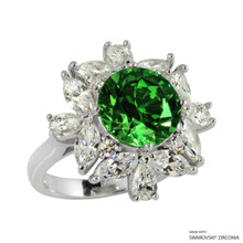 Ring(Size 6, 7, 8) Made With Swarovski Zirconia Round 1 Green