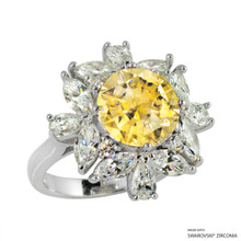 Ring(Size 6, 7, 8) Made With Swarovski Zirconia Round 1 Yellow
