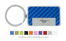 Ford Mustang Logo Carbon Fiber Vinyl Inlay Rectangle Key Chain