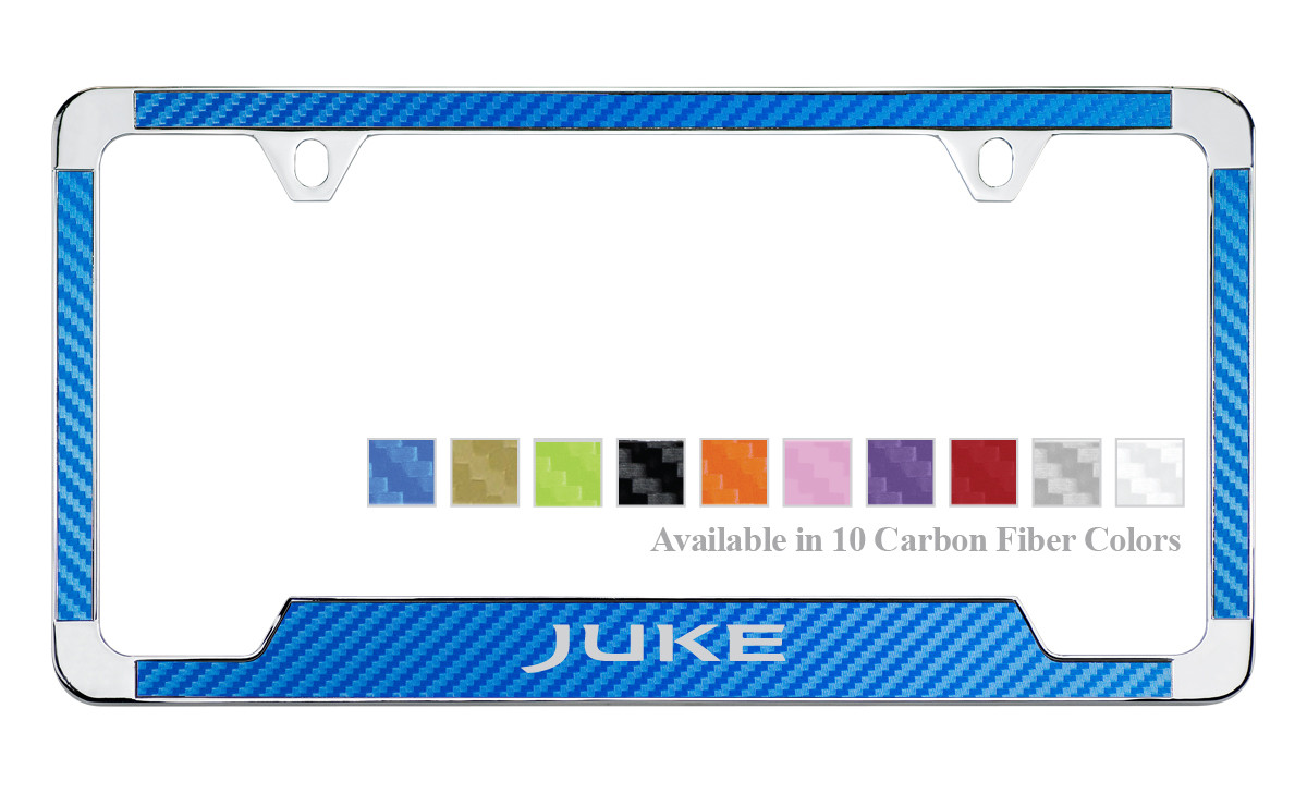 Nissan Juke License Plate Frame With Carbon Fiber Vinyl Insert