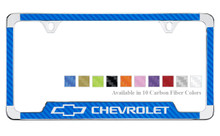Chevrolet With Logo License Plate Frame With Carbon Fiber Vinyl Insert