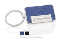Honda Logo and Wordmark Rectangle Key Chain with Simulated Brushed Aluminum Vinyl Inlays