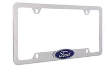 Ford Chrome Plated Brass License Plate Frame With Attached 3D Emblem On Top Bar