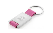 Volkswagen Pink Leather Rectangle Key Chain With Satin Finish