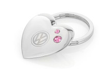 Volkswagen Heart Shaped Key Chain Embellished With Pink Swarovski® Crystals