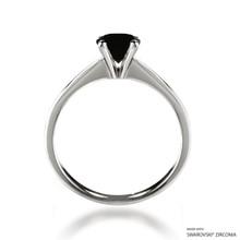 Classic 1 Carat Black Solitaire Ring Made With Swarovski Zirconia