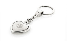 Volkswagen Logo Heart Shaped Key Chain With Satin Center