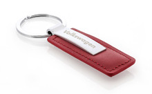 Volkswagen Wordmark Red Leather Key Chain With Satin Metal & Key Ring