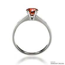 Classic 1 Carat Orange Solitaire Ring Made With Swarovski Zirconia