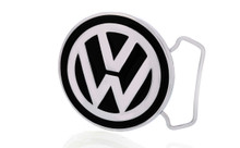 Volkswagen Logo Chrome Belt Buckle With Epoxy Paint Fill