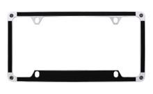 Satin Metallic Black Textured Vinyl Inlay License Plate Frame Embellished With Swarovski® Crystals