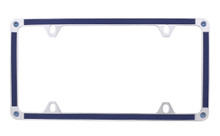 Blue Brush Vinyl Inlay Thin Rim License Plate Frame Embellished With Swarovski® Crystals