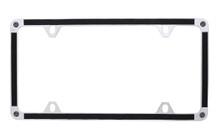 Black Brush Vinyl Inlay Thin Rim License Plate Frame Embellished With Swarovski® Crystals