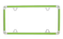 Green Carbon Fiber Vinyl Inlay Thin Rim License Plate Frame Embellished With Swarovski® Crystals