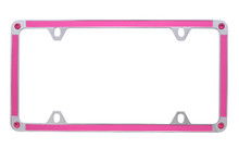 Pink Carbon Fiber Vinyl Inlay Thin Rim License Plate Frame Embellished With Swarovski® Crystals