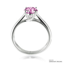 Classy 1 Carat Fancy Pink Solitaire Ring Made With Swarovski Zirconia
