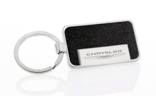 Satin Metallic Black Textured Vinyl Inlay Keychain with Laser Engraved Chrysler Imprint