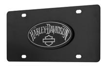 Harley-Davidson® Matte Black Oval Emblem License Plate (HDLPDK394)