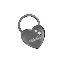 #MeToo Black Nickel Heart Key Chain With Swarovski Crystals
