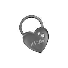 #MeToo Black Nickel Heart Key Chain With Swarovski Crystals