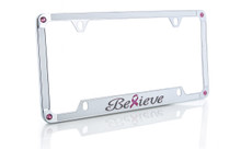 Beautiful and elegant Breast Cancer Pink Ribbon 'Believe' license frame designed with pink crystals from Swarovski®