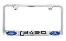 Ford F450 metal license plate frame. Quality craftsmanship and best on the market. Durable for harsh weather. Standard US frame size. Official licensed product.