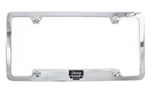 Jeep grill logo and wordmark metal license plate frame holder